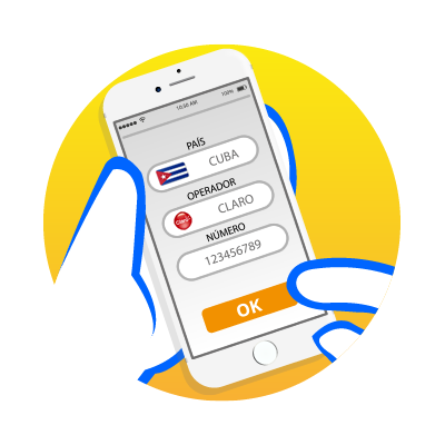 Choose the country, Operator and Enter the cell phone number of your relative or friend - RingVoz